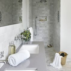 Today's showers ...♥♥... are all about invigorating sprays in clean, crisp spaces. housetohome.co.uk Get the look in your country home with the latest design solutions and high-performance fittings.