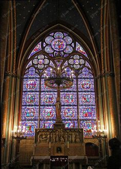 Notre Dame Cathedral Virgin Mary Shrine Blessed Mother Paris France Original Photo Print (With images) Stained Glass Church, Stained Glass Art, Church Architecture, Beautiful Architecture, Tour Effel, Rue Rivoli, Belle France, Chateau Versailles, Laurel