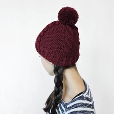 28$ Plaid hat Pom Pom beanie Knit hat by IrensKnitting