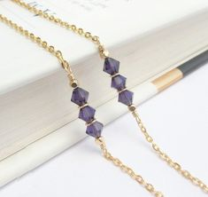Gold Glasses Chain, Purple Tanzanite Eyeglass Chain, Purple Crystal Eyeglass Holder Necklace, Gold Reading Glasses Chain Gift For Her Simple Beaded Tassel Necklace, Beaded Jewelry Designs, Eyeglass Holder, Eyeglasses For Women, Chain, Gold Pearl, Reading Glasses, Jewelries, Jewerly
