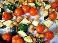 Roasted Zucchini, Tomatoes, and Chickpeas