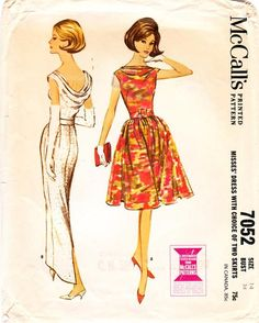McCall's 7052 : Misses' Dress with Choice of Two Skirts || 1963