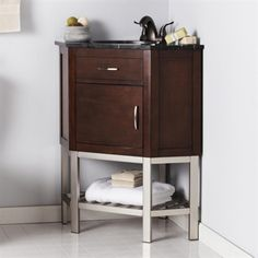 *BEST PRICE $330+ free ship    Boston Loft Furnishings Kinsley Mid-Century Modern Corner Vanity with Sink (ATG0687)<br> <strong>Finish:</strong> Black Marble/Tobacco, <br> <strong>Dimensions:</strong> Backsplash Height: 3.75in - BackToFront: 23.25in - Bowl Back to Front: 12.5in - Bowl Depth: 6.25in - Bowl Width: 15.25in - Clearance: 4.75in - Faucet Hole Spacing: 4in - Height: 36in - Shelf Height: 8.5in - Shelf Width: 28.25in - Top Depth: 23.25in - Top Length: 32.25in - Top...