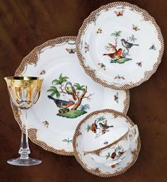 Rothschild Bird Brown Border by Herend Dinnerware Sets, China Dinnerware, Chinoiserie, Herend China, China Patterns, Tea Cup Saucer, China Porcelain, Tea Pots, Decoration