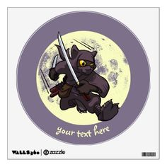 #personalize - #Black Cat Ninja Katana Sword Flying Kick Cartoon Wall Sticker