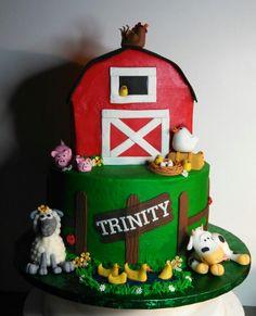 Farm theme birthday cake I made.