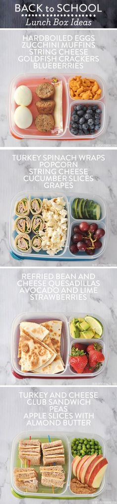 Yummy packed lunch ideas for when you're stumped on what to send your kiddo to school with. Packed in /easylunchboxes/, these lunch combinations have fruits, veggies, and protein to give your little ones the nutrition and energy to tackle the day without sacrificing taste. #RecipesHealthy