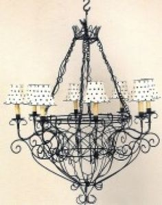 Eight Or Six Light French Wire Chandelier Optional Shades Available