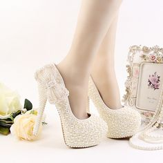 74.25$  Watch now - http://alig6x.worldwells.pw/go.php?t=32779323189 - Luxury Ivory Wedding Dress Shoes High Heel Platform Bridal Shoes Ivory Pearl Formal Dress Shoes Handmade High Heel Prom Pumps
