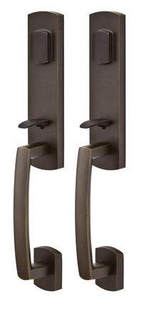 Emtek entry handlesets - Emtek Logan Grip by Grip Sandcast Handleset available in three finishes to coordinate with your other door hardware. Modern Door, Rustic Modern, Rustic Style, Rustic Decor, Entry Door Hardware, Entry Door Locks, Logan, Entrance, Door Handles