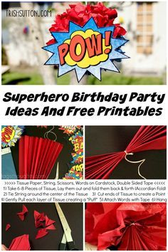 A Superhero Birthday Party And Free Printables for Party Décor & Party Games. Masks, Cardboard Blocks, Party Favors & a Superhero Birthday Shirt. trishsutton.com