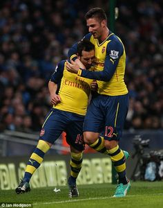 Jan 18th 2015 - Manchester, UK - MANCHESTER CITY V ARSENAL - Man City Arsenal goal Cazola ...