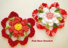 \ PINK ROSE CROCHET /: Coração com Flor em Ponto Rococó