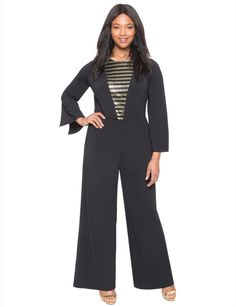 Plus Size Studio Sequin Deep V Jumpsuit * Want additional info? Click on the image.