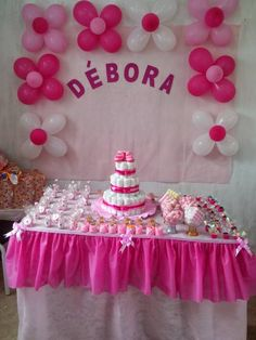 Simple Birthday Decorations, Ballon Decorations, Baptism Decorations, Baby Shower Decorations, 1st Birthday Girl Dress, Twin Birthday Cakes, Deco Baby Shower, Baby Girl Shower Themes, Baby Party