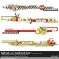 4 Readymade border strips each approximately 11 inches. Provided in composite PNGs as well as layered PSDs for easy customizing. PNGs of individual layers are also included. Scrapbook Borders, Scrapbook Pages, Apple Fruit, Photograph Album, Apple Orchard, Making Memories, Marketing Materials, Digital Scrapbooking, Embellishments