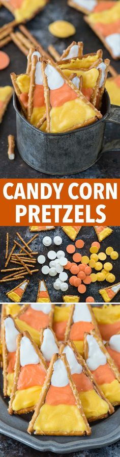 Super easy to make candy corn pretzels! This is a fun halloween treat that kids Super easy to make candy corn pretzels! This is a fun halloween treat that kids could make using pretzels and colored candy melts. Fun Halloween Treats, Halloween Goodies, Halloween Desserts, Halloween Candy, Holiday Treats, Diy Halloween, Fall Treats, Halloween Pretzels, Halloween Projects