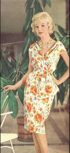 1960 Model in slim silk print dinner/cocktail dress, Burda Moden, June