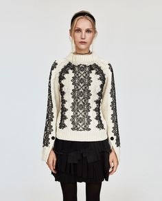 Image 2 of CABLE-KNIT SWEATER WITH LACE from Zara