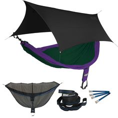 ENO SingleNest OneLink Sleep System - Navy/Olive Hammock With Grey Profly * Don't get left behind, see this great product : Camping Furniture Camping Cot, Camping And Hiking, Hiking Gear, Camping Hacks, Backpacking Gear, First Time Camping, Hammock Tent, Camping Furniture, Purple Teal