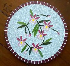Bandeja giratória com mosaico Mais
