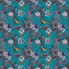 Jardin by Graham & Brown - Teal - Wallpaper : Wallpaper Direct Mosaic Wallpaper, Powder Room Wallpaper, Bright Wallpaper, Kitchen Wallpaper, Butterfly Wallpaper, Brown Bathroom Decor, Bathroom Colors, Brown Teal, Teal Blue