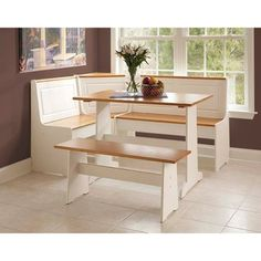 Linon Ardmore White Dining Corner Nook Wood Table 5-peice Set