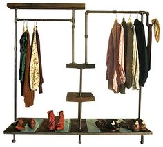 """This unique garment rack gives new meaning to """"your side of the closet"""". With its industrial good looks, there's plenty of room for two on this green-friendly"""