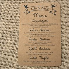 Kraft Paper Menu Card with Modern Birds, Romantic and Rustic, Script Font. $25.00, via Etsy.