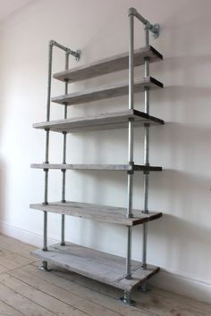 Reclaimed White-washed Scaffolding Boards and Galvanised Steel Pipe Shelving/Bookcase - Urban Storage, Bespoke Industrial Shelving System