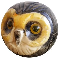 glazed carved marble paper press in shape of an owl - Italy 1960's - Ipso Facto | From a unique collection of antique and modern curiosities at https://www.1stdibs.com/furniture/more-furniture-collectibles/curiosities/