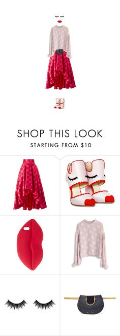 """""""Read My Lips: Polka Dots"""" by puellasum ❤ liked on Polyvore featuring Ultràchic, STELLA McCARTNEY, Chicwish, Morphe and Chloé"""