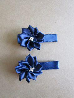 Navy Blue Satin Flower Baby Hair Clips