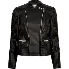 Black leather look quilted biker jacket - biker jackets - coats / jackets…