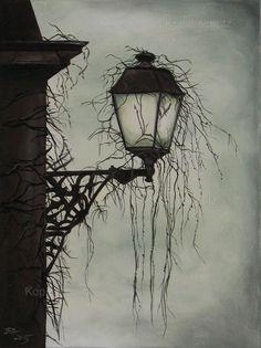 Twilight - Acrylic painting  - Gothic,Lantern,scary,mystic,gloomy