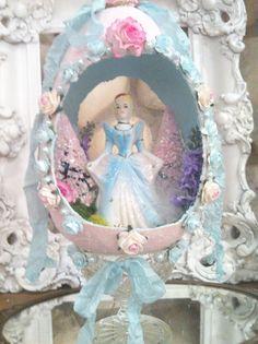 Diorama Sugar Egg, Easter egg, Easter Bottle Brush tree, Cinderella, Disney Easter