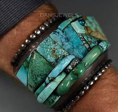 Huge-Old-Pawn-Vintage-Navajo-TURQUOISE-Sterling-DANIEL-BENALLY-Bracelet-RARE