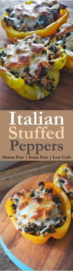 Really simple Italian stuffed peppers! Gluten-free, grain-free and low-carb! Simply omit the cheese for Whole30 and Paleo!!