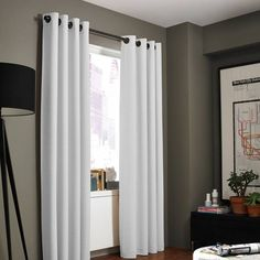 Product Image for Kenneth Cole Reaction Home Gotham Texture Lined Grommet Window Curtain Panel 1 out of 1