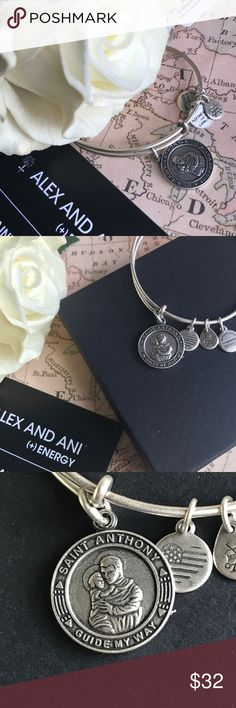 """Alex and Ani's """"St. Anthony"""" Silver Charm Bangle Whenever I've lost something, a little prayer to St. Anthony always seems to help... I lose LOTS of things!!So this special piece is always with me. Saint Anthony of Padua is believed to be the patron saint of lost things. His bracelet represents selfishness, guidance, and illumination. Crafted in the Rafaelian Silver; it's expandable from 2.5"""" to 3.5"""". Charm itself is 0.75"""" x 0.75"""". Comes sealed in original packaging inside our Bohemian…"""