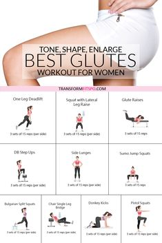 How to Get a Bigger Bum – Workout to Tone, Round and Enlarge Your Glutes - Workout Plan Fitness Workouts, Toning Workouts, At Home Workouts, Fitness Tips, Fitness Motivation, Health Fitness, Lower Body Workouts, Morning Ab Workouts, Squats Fitness