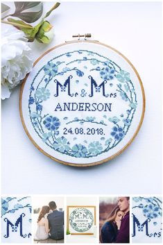 Wedding cross stitch pattern with blue floral wreath Mr and Mrs cross stitch Wreath Personalized wedding sampler cross stitch Couple gift Cross Stitch Hoop, Cross Stitch Embroidery, Wedding Cross Stitch Patterns, Marriage Gifts, Diy Wedding Gifts, Mr And Mrs Wedding, Alphabet And Numbers, Floral Border, At Least