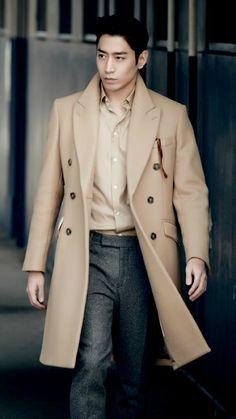 men's winter camel coat, gray wool pants // Eric Mun Shinhwa