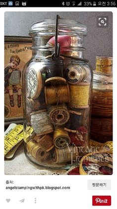 Sewing room vintage display 56 best Ideas Sewing room vintage display 56 best IdeasYou can find Vintage sewing notions and more on our website. Spool Crafts, Jar Crafts, Sewing Crafts, Sewing Projects, Sewing Art, Sewing Ideas, Diy Projects, Vintage Sewing Notions, Antique Sewing Machines