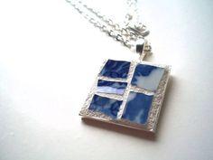 Mosaic Pendant Broken Dish Art Blue and by earthmothermosaics, $25.00