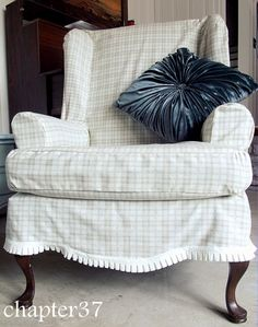 Slip-covering a wing back chair