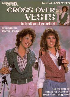 Knitting Crochet Patterns Cross Over Vests Women Shawl Collar Cable  #LeisureArts #KnittingCrochetPatterns