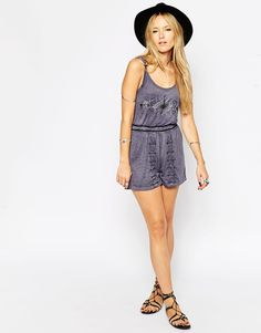 Image 1 ofASOS Embroidered Playsuit in Acid Wash with Lace up Back