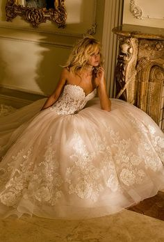 Brides: Eve of Milady. Blush ball gown with lace appliqués, sweetheart neckline, and sheer illusion bodice.