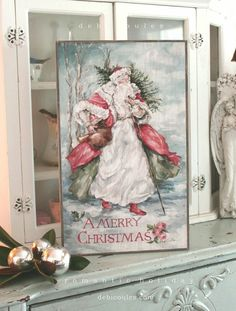 Shabby Chic Vintage Style Santa by Debi Coules - Debi Coules Romantic Art